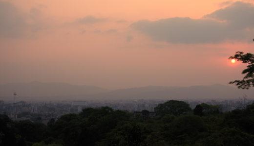 京都: 清水寺の夕日